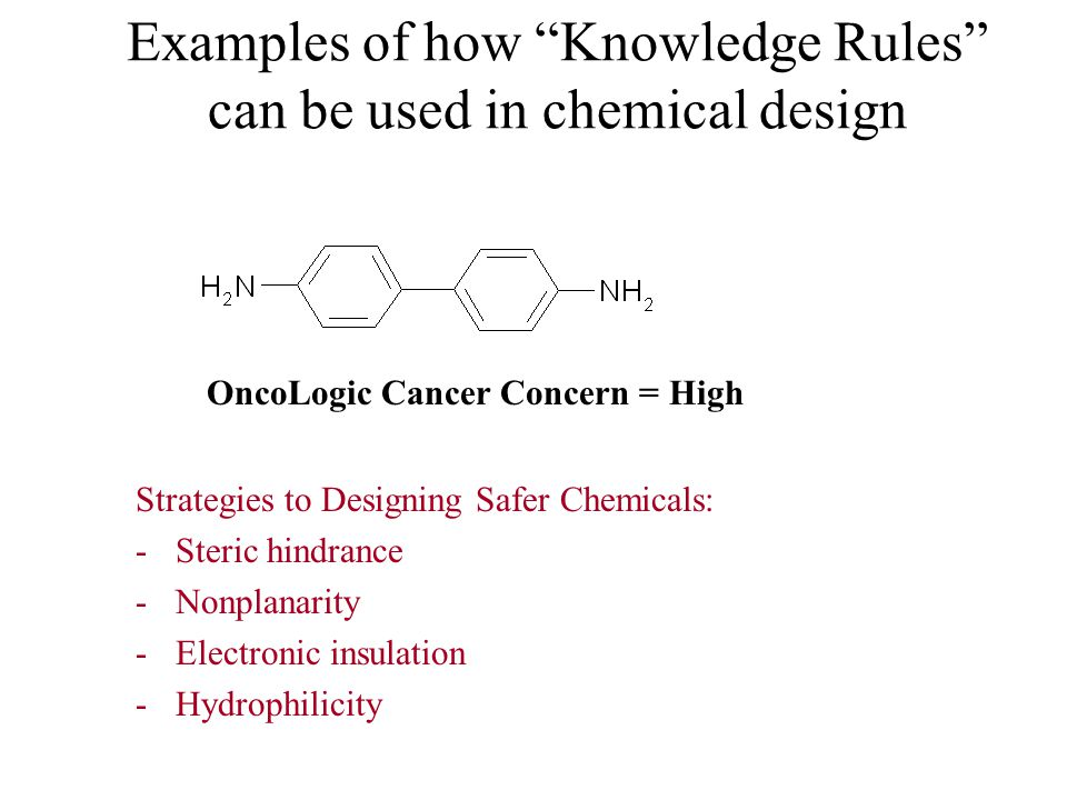 Examples of how Knowledge Rules can be used in chemical design Strategies to Designing Safer Chemicals: -Steric hindrance -Nonplanarity -Electronic insulation -Hydrophilicity OncoLogic Cancer Concern = High