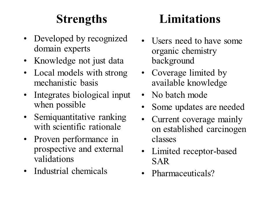 Strengths Limitations Developed by recognized domain experts Knowledge not just data Local models with strong mechanistic basis Integrates biological input when possible Semiquantitative ranking with scientific rationale Proven performance in prospective and external validations Industrial chemicals Users need to have some organic chemistry background Coverage limited by available knowledge No batch mode Some updates are needed Current coverage mainly on established carcinogen classes Limited receptor-based SAR Pharmaceuticals