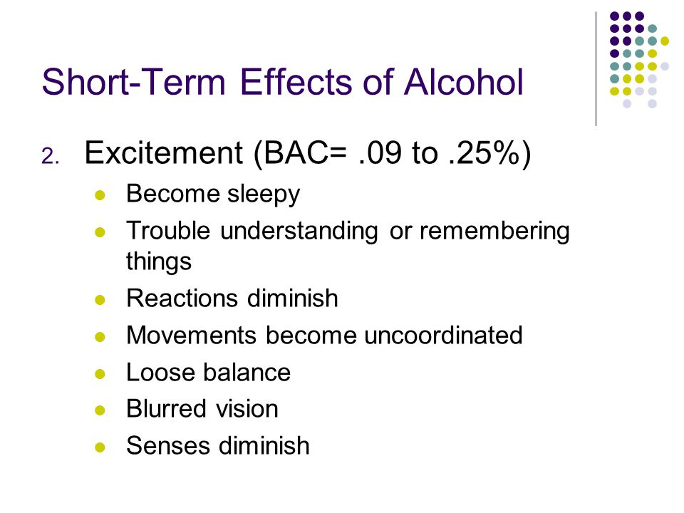 Short-Term Effects of Alcohol 2. Excitement (BAC=.09 to.25%) Become sleepy Trouble understanding or remembering things Reactions diminish Movements be