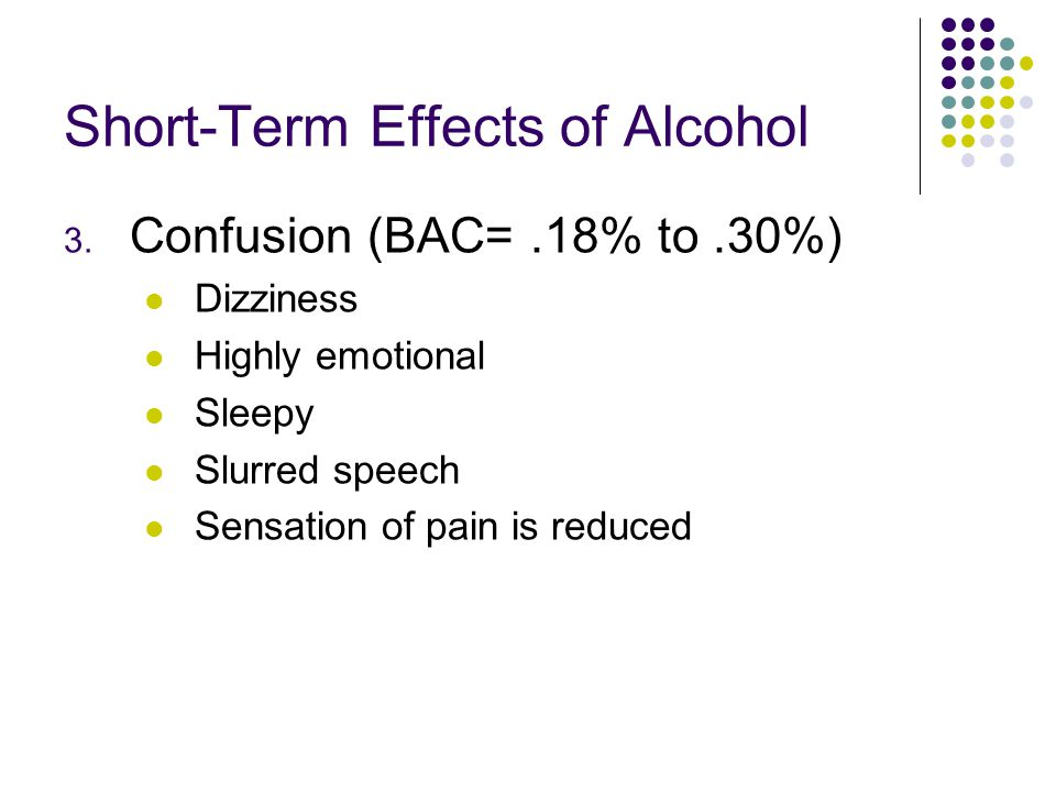 Short-Term Effects of Alcohol 3. Confusion (BAC=.18% to.30%) Dizziness Highly emotional Sleepy Slurred speech Sensation of pain is reduced