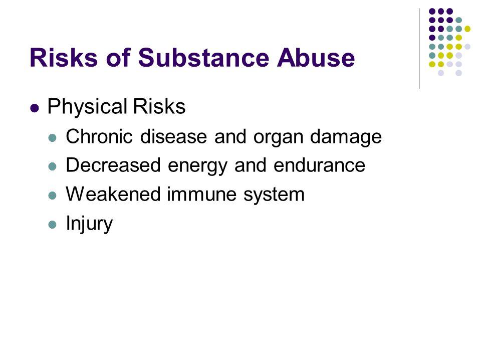 Risks of Substance Abuse Physical Risks Chronic disease and organ damage Decreased energy and endurance Weakened immune system Injury