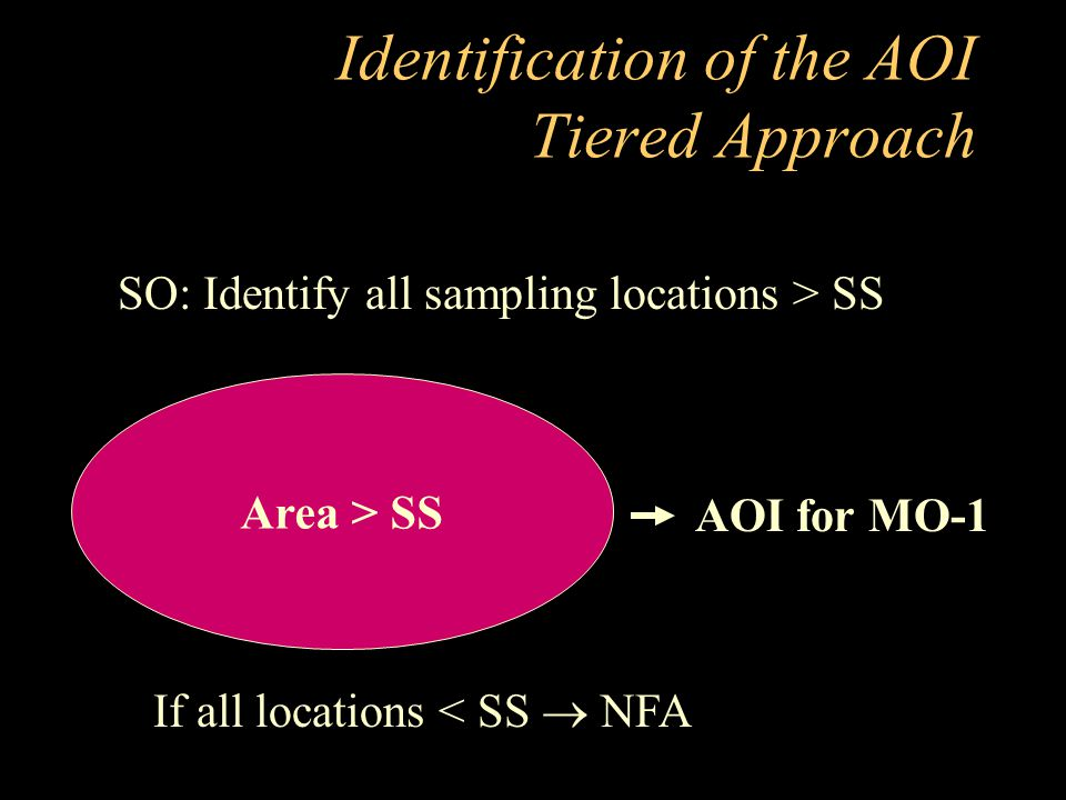 Identification of the AOI Tiered Approach Area > SS SO: Identify all sampling locations > SS AOI for MO-1 If all locations < SS  NFA