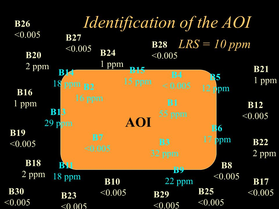 Identification of the AOI LRS = 10 ppm AOI B2 16 ppm B4 < 0.005 B3 32 ppm B7 <0.005 B11 18 ppm B5 12 ppm B6 17 ppm B9 22 ppm B8 <0.005 B10 <0.005 B17