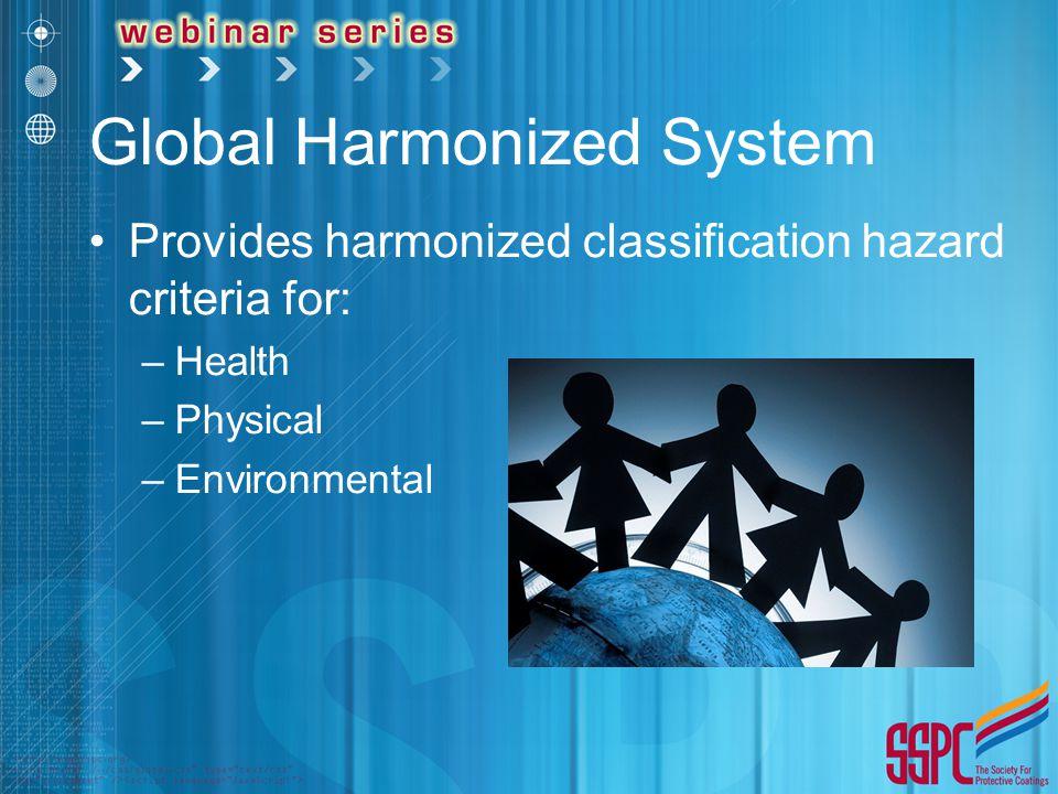 Global Harmonized System Provides harmonized classification hazard criteria for: –Health –Physical –Environmental