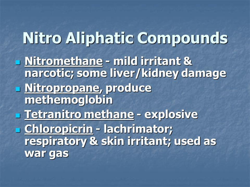 Nitro Aliphatic Compounds Nitromethane - mild irritant & narcotic; some liver/kidney damage Nitromethane - mild irritant & narcotic; some liver/kidney damage Nitropropane, produce methemoglobin Nitropropane, produce methemoglobin Tetranitro methane - explosive Tetranitro methane - explosive Chloropicrin - lachrimator; respiratory & skin irritant; used as war gas Chloropicrin - lachrimator; respiratory & skin irritant; used as war gas