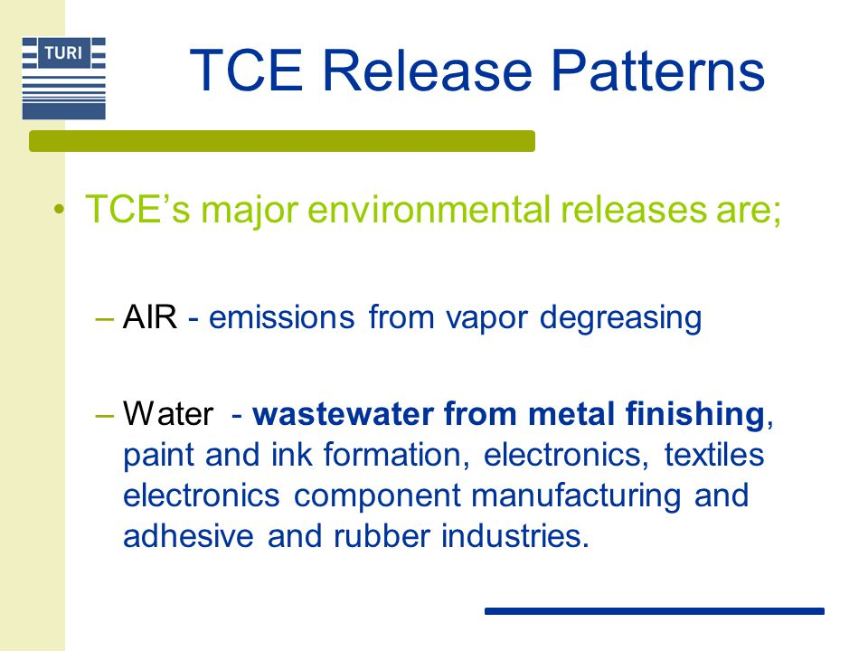 TCE Release Patterns TCE's major environmental releases are; –AIR - emissions from vapor degreasing –Water - wastewater from metal finishing, paint an