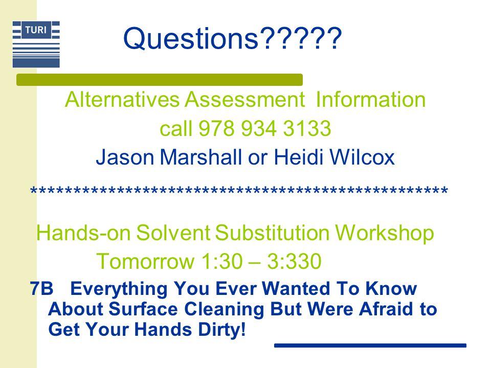 Questions????? Alternatives Assessment Information call 978 934 3133 Jason Marshall or Heidi Wilcox *************************************************