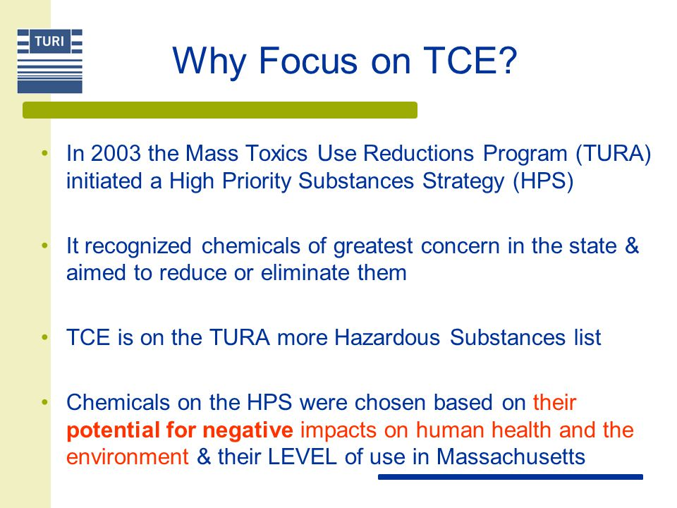 Why Focus on TCE? In 2003 the Mass Toxics Use Reductions Program (TURA) initiated a High Priority Substances Strategy (HPS) It recognized chemicals of