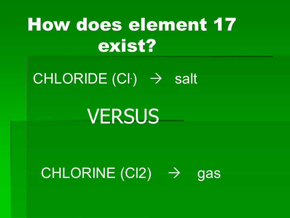 Chloride Chemistry  Chloride is a by-product of the reaction between chlorine and an electrolyte such as K, Mg, Na.