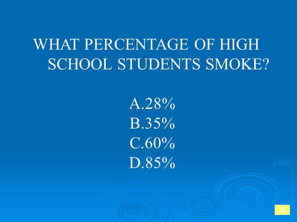 WHAT PERCENTAGE OF HIGH SCHOOL STUDENTS SMOKE? A.28% B.35% C.60% D.85% A