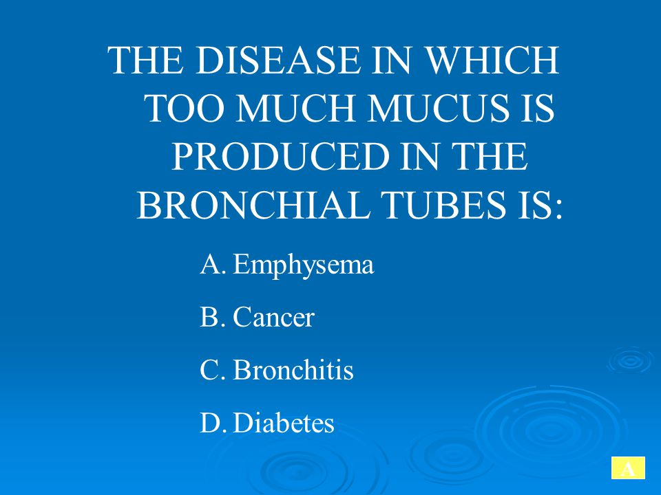 THE DISEASE IN WHICH TOO MUCH MUCUS IS PRODUCED IN THE BRONCHIAL TUBES IS: A.Emphysema B.Cancer C.Bronchitis D.Diabetes A