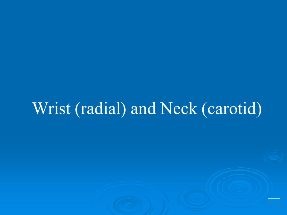 Wrist (radial) and Neck (carotid)