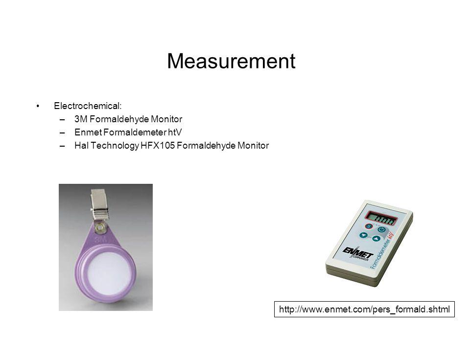 Measurement Electrochemical: –3M Formaldehyde Monitor –Enmet Formaldemeter htV –Hal Technology HFX105 Formaldehyde Monitor http://www.enmet.com/pers_formald.shtml