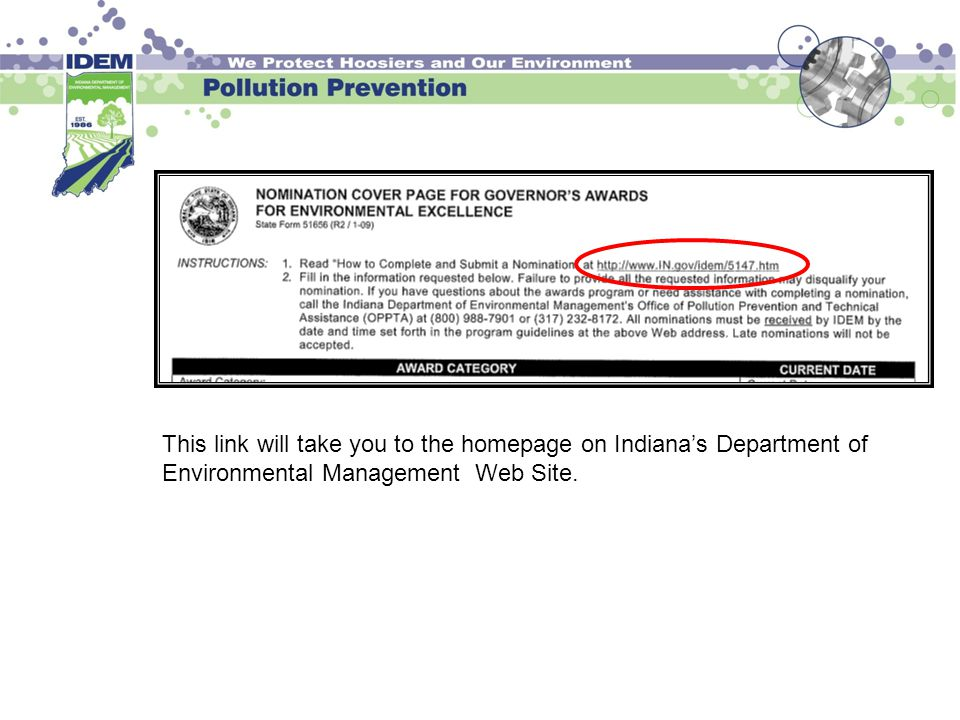 This link will take you to the homepage on Indiana's Department of Environmental Management Web Site.