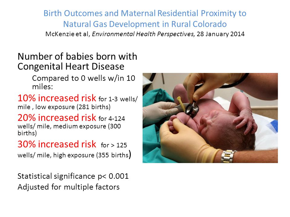 Birth Outcomes and Maternal Residential Proximity to Natural Gas Development in Rural Colorado McKenzie et al, Environmental Health Perspectives, 28 January 2014 Number of babies born with Congenital Heart Disease Compared to 0 wells w/in 10 miles: 10% increased risk for 1-3 wells/ mile, low exposure (281 births) 20% increased risk for 4-124 wells/ mile, medium exposure (300 births) 30% increased risk for > 125 wells/ mile, high exposure (355 births ) Statistical significance p< 0.001 Adjusted for multiple factors