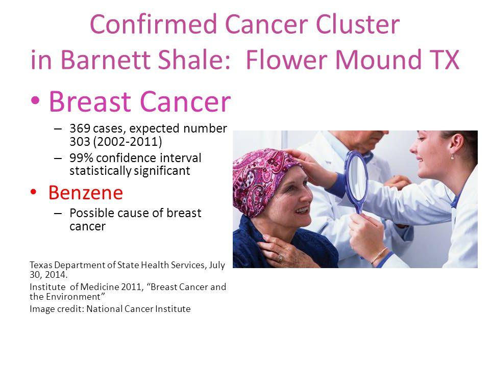 Confirmed Cancer Cluster in Barnett Shale: Flower Mound TX Breast Cancer – 369 cases, expected number 303 (2002-2011) – 99% confidence interval statis