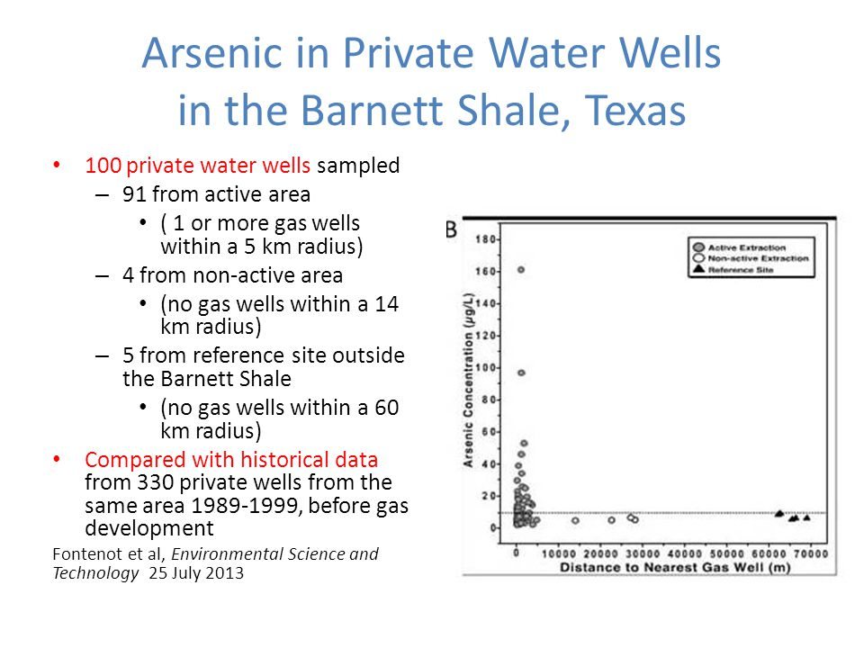 Arsenic in Private Water Wells in the Barnett Shale, Texas 100 private water wells sampled – 91 from active area ( 1 or more gas wells within a 5 km radius) – 4 from non-active area (no gas wells within a 14 km radius) – 5 from reference site outside the Barnett Shale (no gas wells within a 60 km radius) Compared with historical data from 330 private wells from the same area 1989-1999, before gas development Fontenot et al, Environmental Science and Technology 25 July 2013