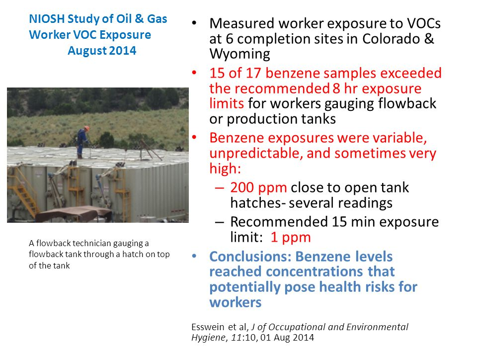 NIOSH Study of Oil & Gas Worker VOC Exposure August 2014 Measured worker exposure to VOCs at 6 completion sites in Colorado & Wyoming 15 of 17 benzene