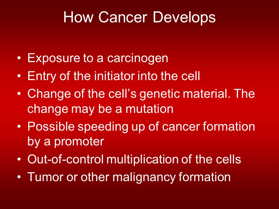 How Cancer Develops Exposure to a carcinogen Entry of the initiator into the cell Change of the cell's genetic material. The change may be a mutation