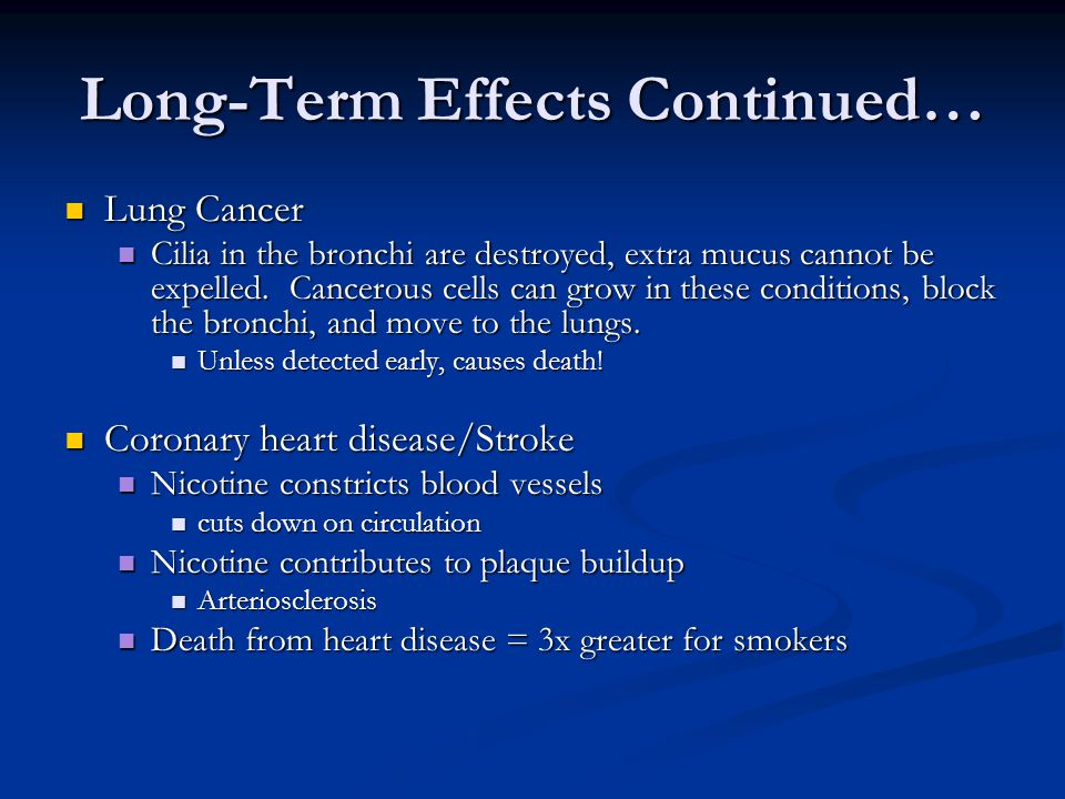 Long-Term Effects Continued… Lung Cancer Lung Cancer Cilia in the bronchi are destroyed, extra mucus cannot be expelled.