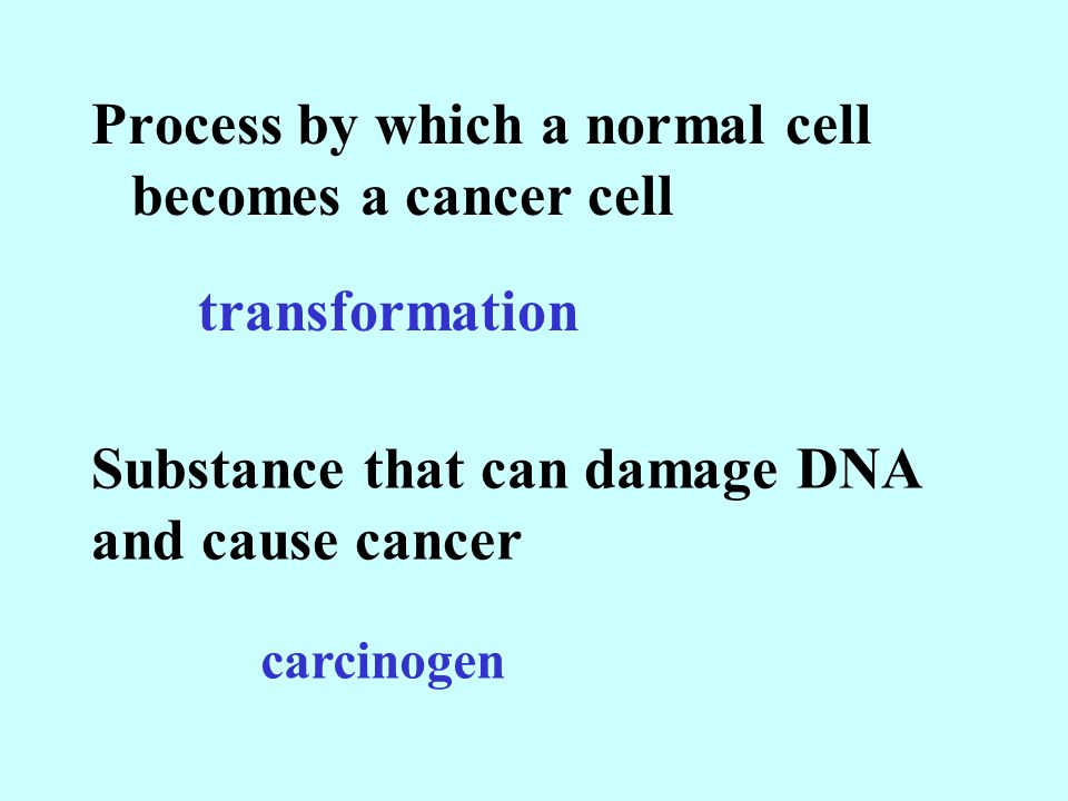 Process by which a normal cell becomes a cancer cell transformation Substance that can damage DNA and cause cancer carcinogen