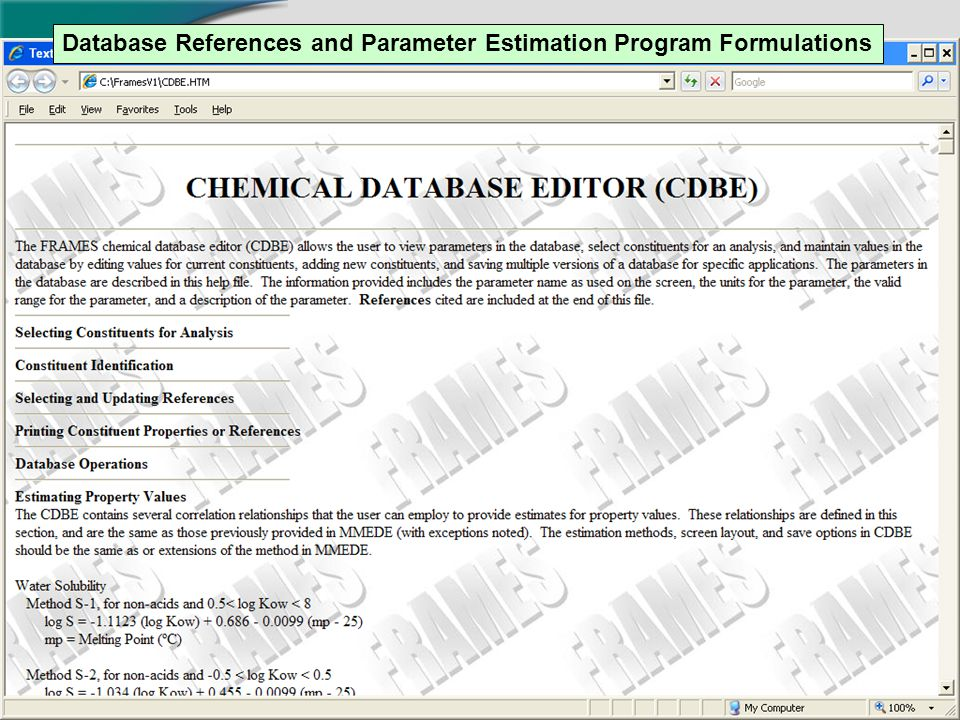 13 Database References and Parameter Estimation Program Formulations