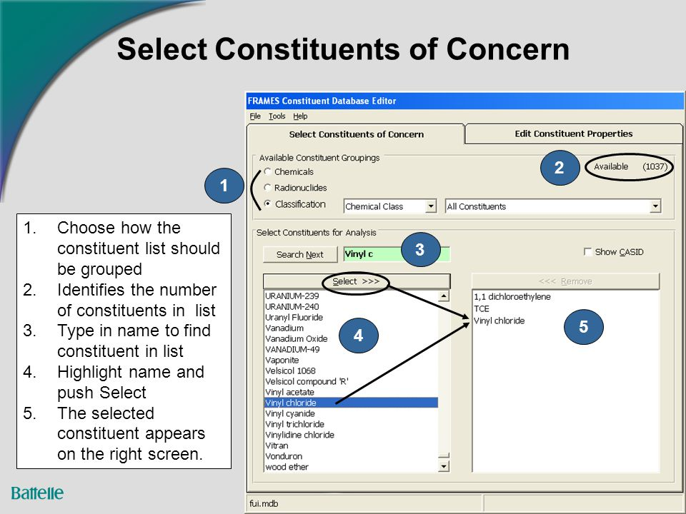 6 Select Constituents of Concern 2 1 3 4 5 1.Choose how the constituent list should be grouped 2.Identifies the number of constituents in list 3.Type in name to find constituent in list 4.Highlight name and push Select 5.The selected constituent appears on the right screen.