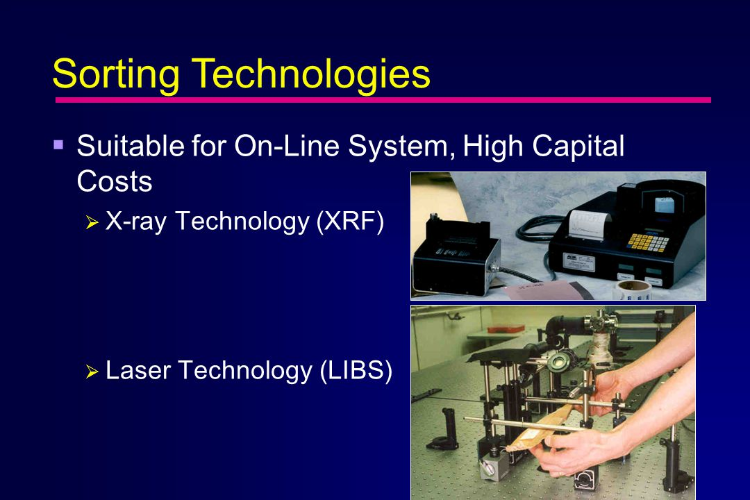  Suitable for On-Line System, High Capital Costs  X-ray Technology (XRF)  Laser Technology (LIBS) Sorting Technologies