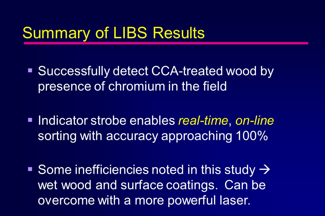 Summary of LIBS Results  Successfully detect CCA-treated wood by presence of chromium in the field  Indicator strobe enables real-time, on-line sorting with accuracy approaching 100%  Some inefficiencies noted in this study  wet wood and surface coatings.