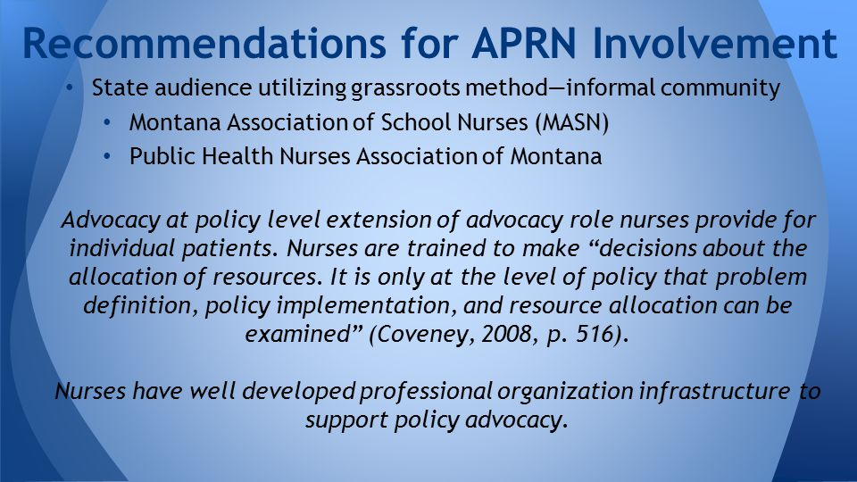 State audience utilizing grassroots method—informal community Montana Association of School Nurses (MASN) Public Health Nurses Association of Montana Advocacy at policy level extension of advocacy role nurses provide for individual patients.