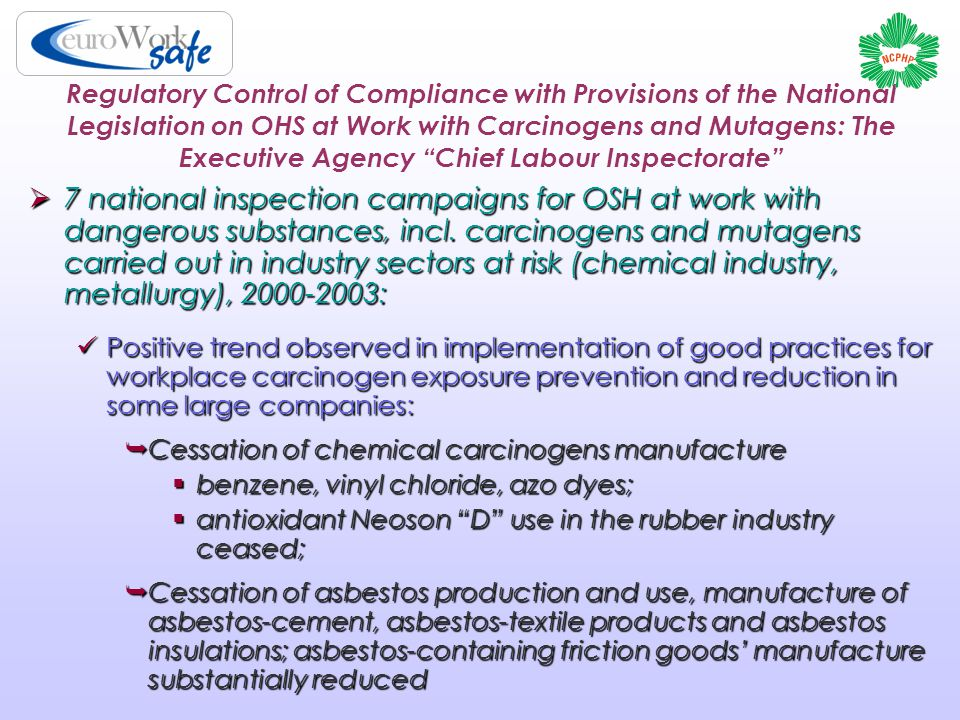 Regulatory Control of Compliance with Provisions of the National Legislation on OHS at Work with Carcinogens and Mutagens: The Executive Agency Chief Labour Inspectorate  7 national inspection campaigns for OSH at work with dangerous substances, incl.