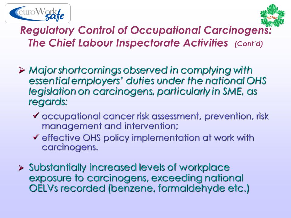 Regulatory Control of Occupational Carcinogens: The Chief Labour Inspectorate Activities (Cont'd)  Major shortcomings observed in complying with essential employers' duties under the national OHS legislation on carcinogens, particularly in SME, as regards: occupational cancer risk assessment, prevention, risk management and intervention; occupational cancer risk assessment, prevention, risk management and intervention; effective OHS policy implementation at work with carcinogens.