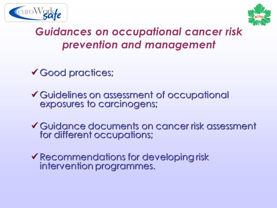 Guidances on occupational cancer risk prevention and management Good practices; Good practices; Guidelines on assessment of occupational exposures to carcinogens; Guidelines on assessment of occupational exposures to carcinogens; Guidance documents on cancer risk assessment for different occupations; Guidance documents on cancer risk assessment for different occupations; Recommendations for developing risk intervention programmes.