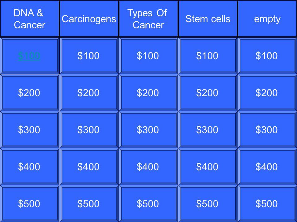 $200$300$400$500$100$200$300$400$500$100$200$300$400$500$100$200$300$400$500$100$200$300$400$500$100 DNA & Cancer Carcinogens Types Of Cancer Stem cellsempty