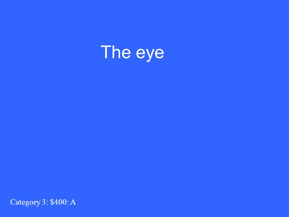 Category 3: $400: A The eye