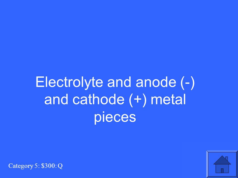 Category 5: $300: Q Electrolyte and anode (-) and cathode (+) metal pieces