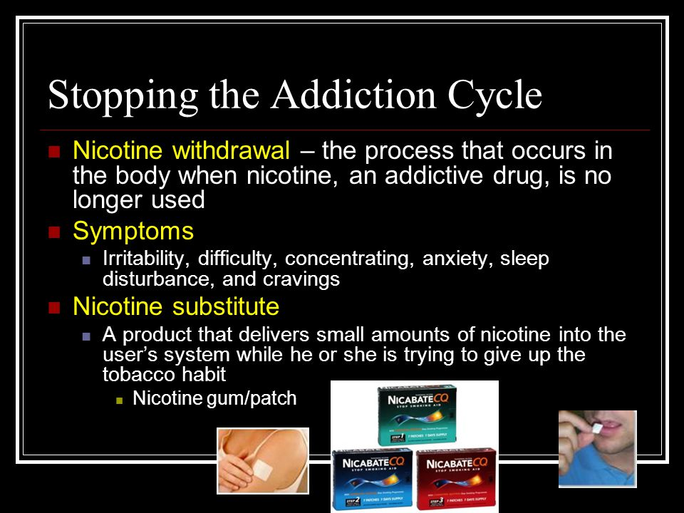 Stopping the Addiction Cycle Nicotine withdrawal – the process that occurs in the body when nicotine, an addictive drug, is no longer used Symptoms Irritability, difficulty, concentrating, anxiety, sleep disturbance, and cravings Nicotine substitute A product that delivers small amounts of nicotine into the user's system while he or she is trying to give up the tobacco habit Nicotine gum/patch