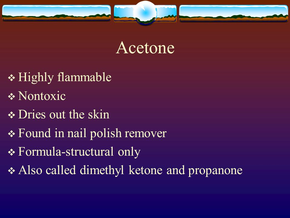 Acetic Acid  Vinegar smell  Irritating vapor  Burns skin  Formulas-molecular (2 ways) and structural