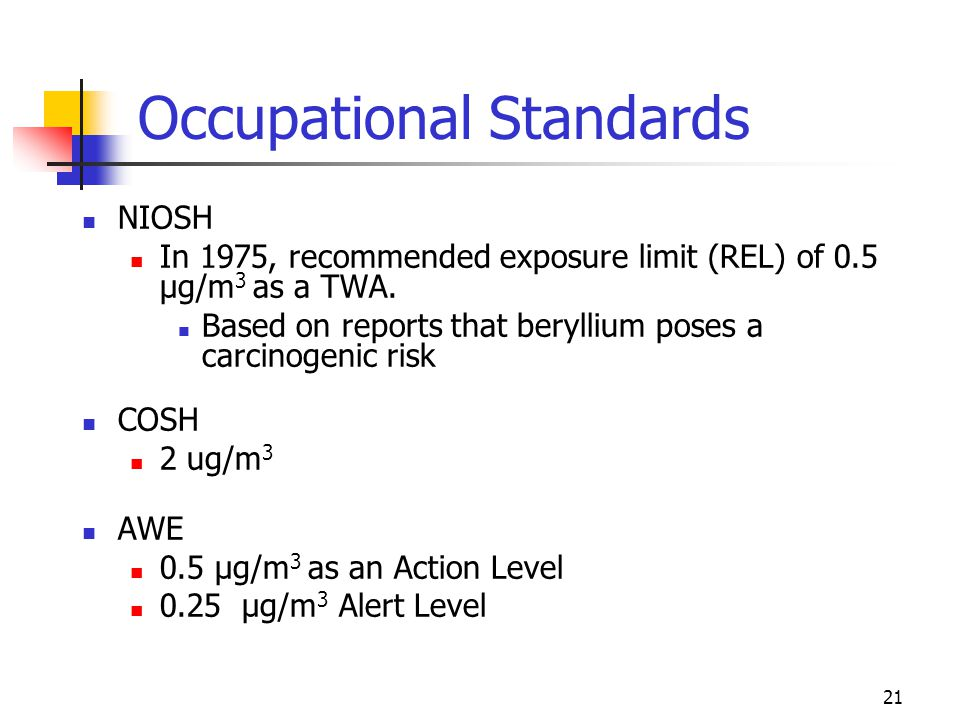 21 Occupational Standards NIOSH In 1975, recommended exposure limit (REL) of 0.5 µg/m 3 as a TWA.