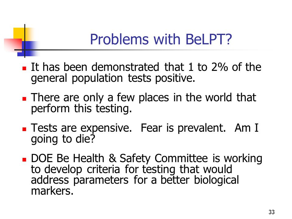 33 Problems with BeLPT.