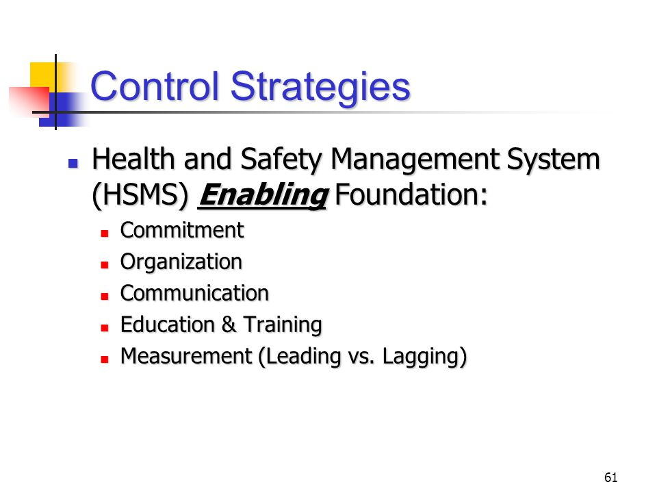 61 Control Strategies Health and Safety Management System (HSMS) Enabling Foundation: Health and Safety Management System (HSMS) Enabling Foundation:
