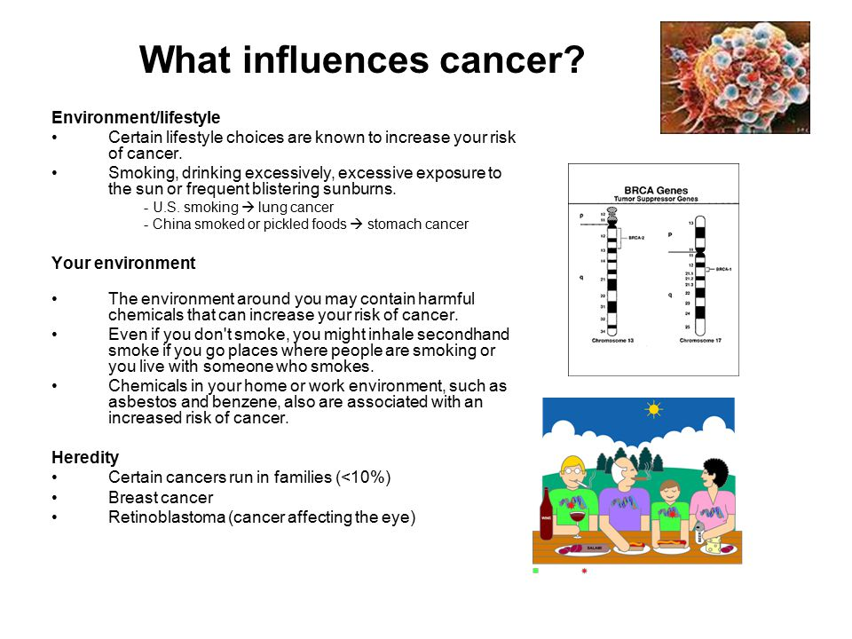 What influences cancer? Environment/lifestyle Certain lifestyle choices are known to increase your risk of cancer. Smoking, drinking excessively, exce