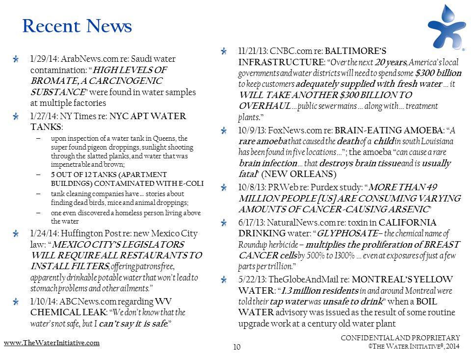 10 CONFIDENTIAL AND PROPRIETARY ©T HE W ATER I NITIATIVE ®, 2014 www.TheWaterInitiative.com Recent News 1/29/14: ArabNews.com re: Saudi water contamin