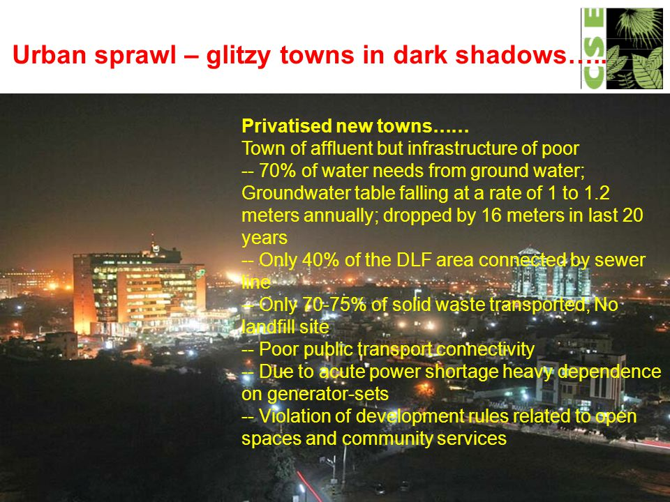 Urban sprawl – glitzy towns in dark shadows…..