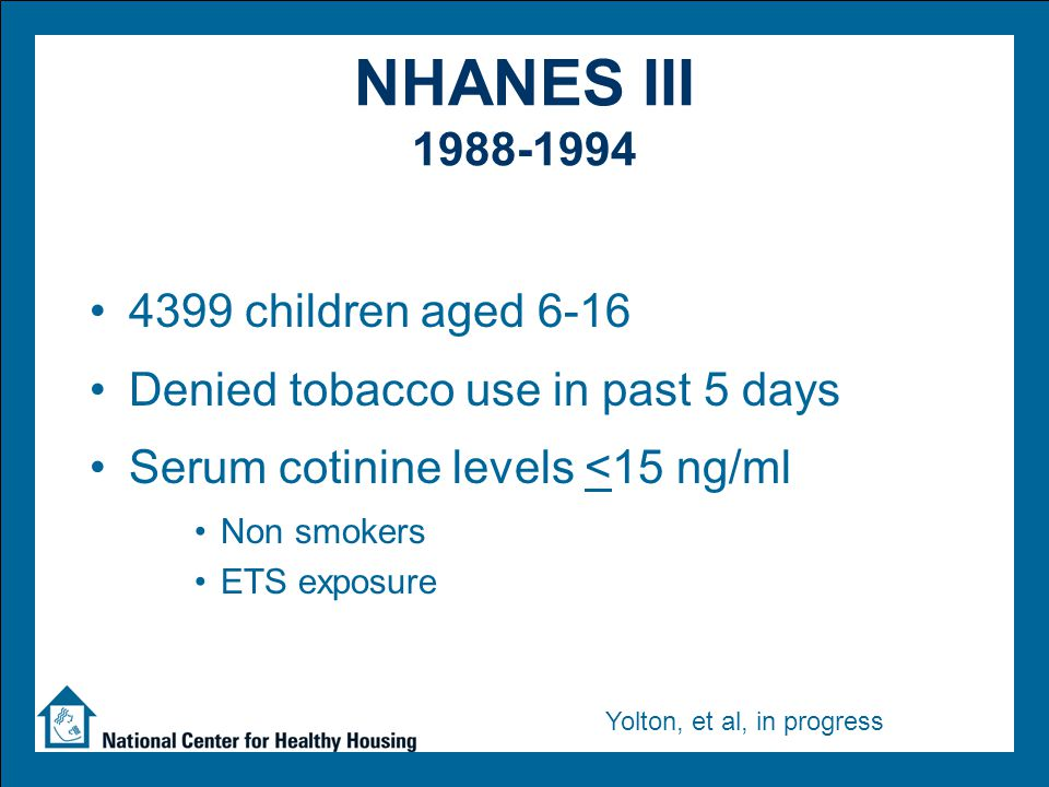 NHANES III 1988-1994 4399 children aged 6-16 Denied tobacco use in past 5 days Serum cotinine levels <15 ng/ml Non smokers ETS exposure Yolton, et al, in progress