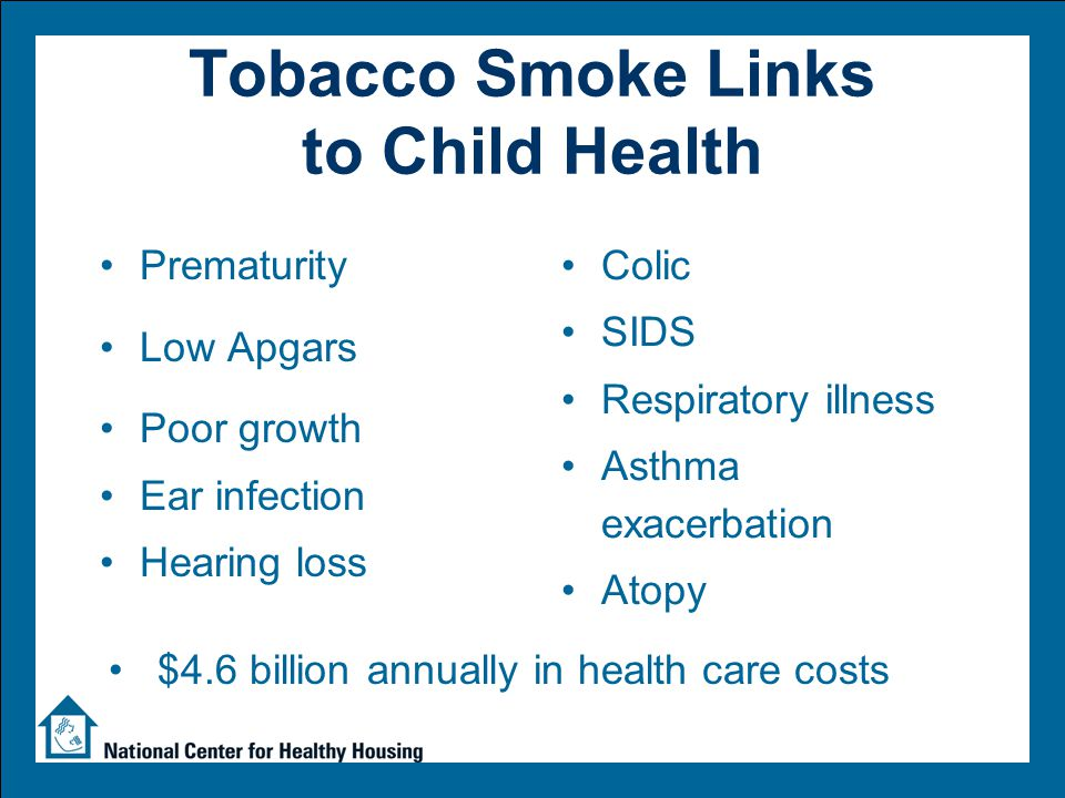 Tobacco Smoke Links to Child Development Intelligence Reasoning Achievement Perceptual skills Reading Language Verbal comprehension General Developmental Delays and specific deficits in the following areas: