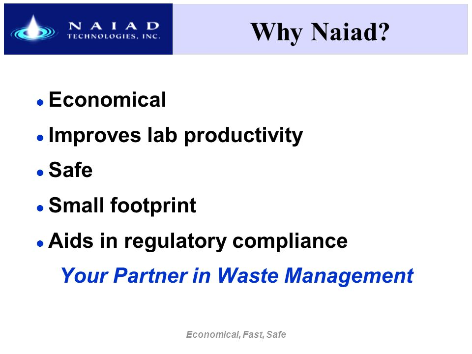 Economical, Fast, Safe Why Naiad.