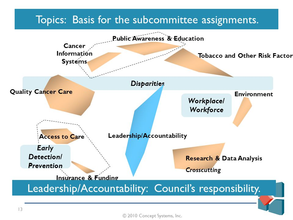 © 2008 Concept Systems, Inc. Disparities 13 Topics: Basis for the subcommittee assignments.