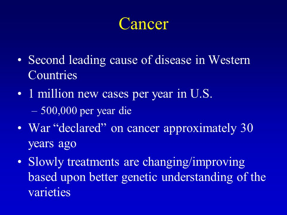 Cancer Second leading cause of disease in Western Countries 1 million new cases per year in U.S.