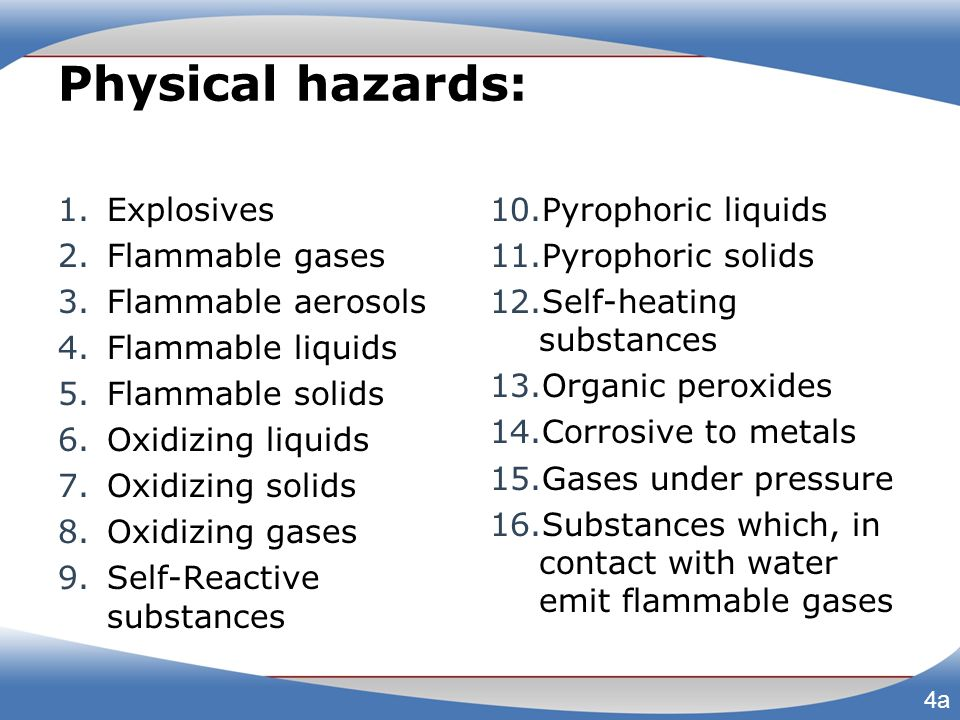 Physical hazards Pyrophoric gas - spontaneously ignites at 130°F or below Combustible dust - build-up can ignite if suspended in air in confined area Grains, sugar Charcoal, soot Chemicals (sulfur) Metals (magnesium, aluminum) Plastics, resins 4b